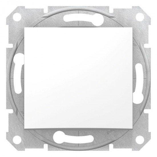 Кръстат ключ, бял (механизъм + монт. рамка)