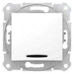 Кръстат ключ със сигнална лампа, бял (механизъм + монт. рамка)