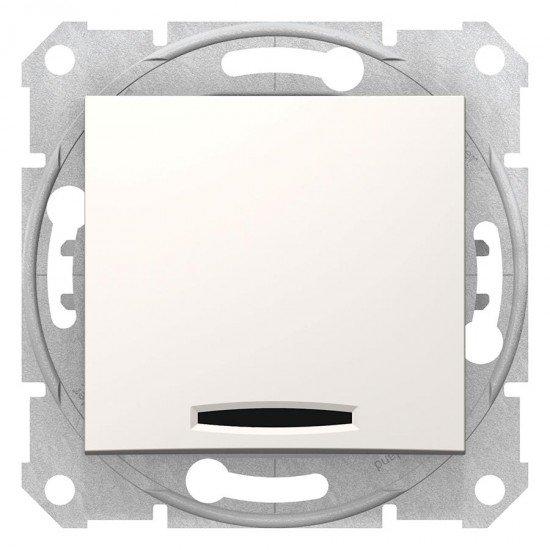Кръстат ключ със сигнална лампа, крема (механизъм+монт. рамка)
