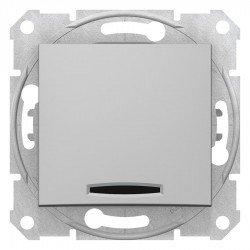 Кръстат ключ със сигнална лампа, алуминий (механизъм + монт. рамка)