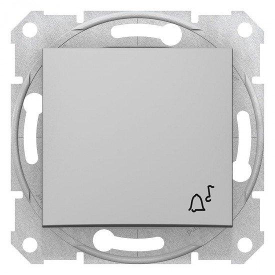 Бутон със символ звънец, алуминий (механизъм + монт. рамка)