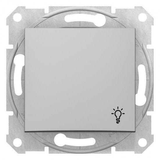 Бутон със символ осветление, алуминий (механизъм + монт. рамка)