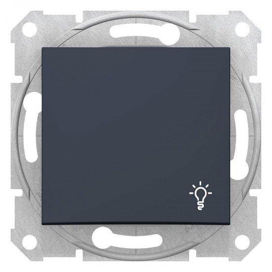 Бутон със символ осветление, графит, (механизъм + монт. рамка)