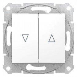 Бутон за управление на щори, бял (механизъм + монт. рамка)