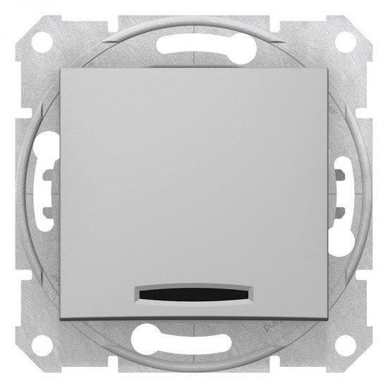 Еднополюсен ключ, сигнална лампа, алуминий (механизъм + монт. рамка)