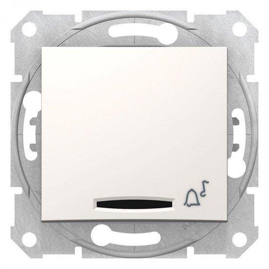 Еднополюсен ключ Sedna - 10A, 12V със символ звънец, без рамка, крема