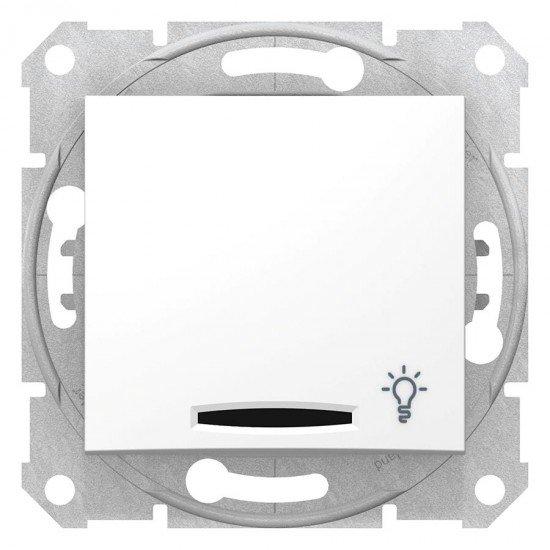 Бутон със сигнална лампа, символ осветление, цвят бял