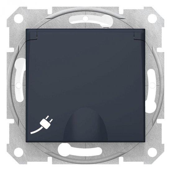 Механизъм контакт шуко с капак графит 16А IP44