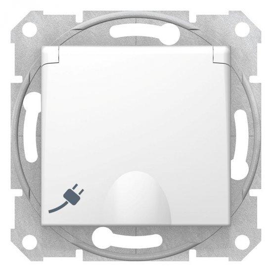 Механизъм контакт шуко с капак 16А бял