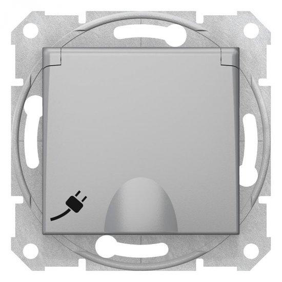 Механизъм контакт шуко с капак 16А алуминий