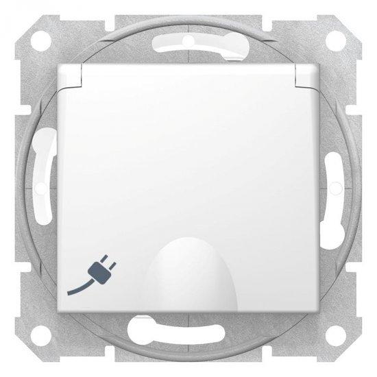 Механизъм контакт шуко с капак бял 16А IP44