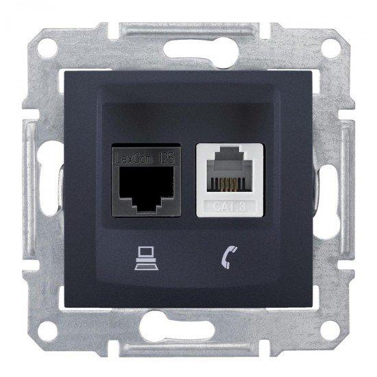 Розетка RJ11 + RJ45 UTP, кат. 5е, графит (механизъм + монт. рамка)
