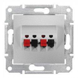 Розетка за високоговорител, алуминий (механизъм + монт. рамка)